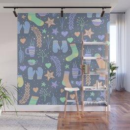 Winter Hygge Warm Socks and Hot Chocolate Wall Mural