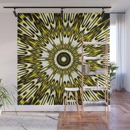 Yellow White Black Sun Explosion Wall Mural