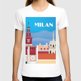 Milan, Italy - Skyline Illustration by Loose Petals T-shirt
