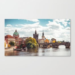 Historic Charles Bridge Vltava River Prague Amazing Cityscape Czech Republic Europe Ultra HD Canvas Print