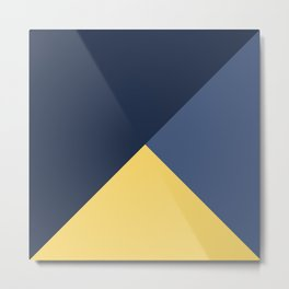 Blue and yellow triangles pattern Metal Print