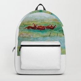 Wild Horse Band by Creek watercolor by CheyAnne Sexton Backpack