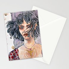 Watercolor illustration with gold ink Stationery Cards
