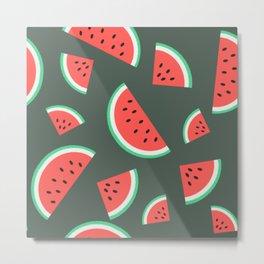 Watermelon Summer Pattern - grey Metal Print