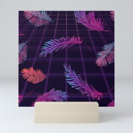 Synthwave Palm Leaves Mini Art Print