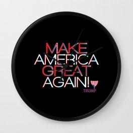 Make America Great Again w/ Trump Trumpet & Flag logo - black Wall Clock
