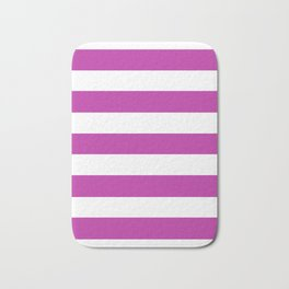 Byzantine -  solid color - white stripes pattern Bath Mat