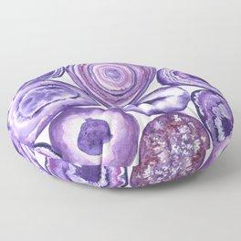 Purple agate pattern watercolor Floor Pillow