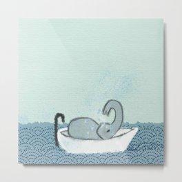 Elephant Takes A Bath Metal Print