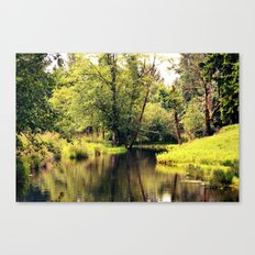 a tree by the river Canvas Print