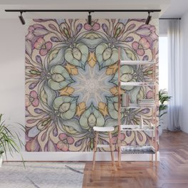 vintage flowers hand drawn and  kaleidoscope mandala Wall Mural