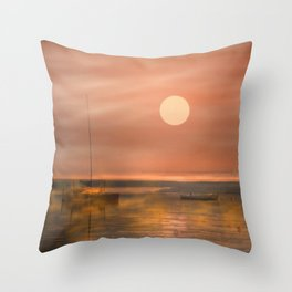 Boats in the fog Throw Pillow
