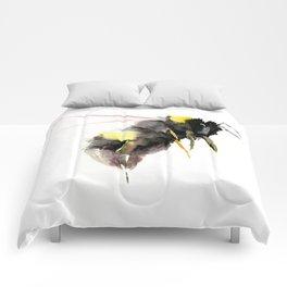 Bumblebee, bee art, bee design Comforters