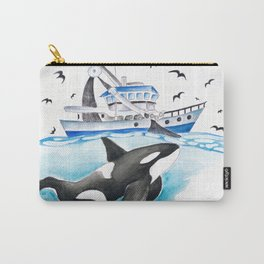 Orca And The Boat Carry-All Pouch