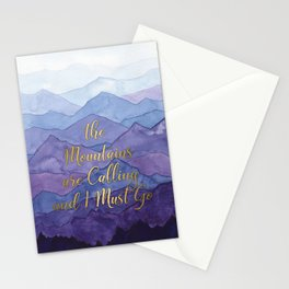 Blue Watercolor Mountains Calling Stationery Cards