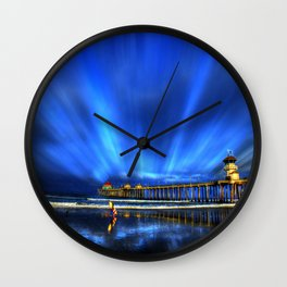 Dawn Patrol At The Huntington Beach Pier Wall Clock