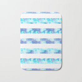 Blue & Purple Watercolor Stripes Bath Mat