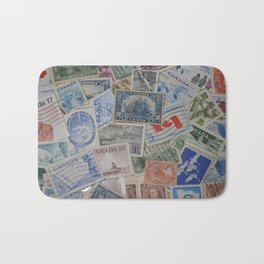 Canadian Pride Vintage Postage Stamp Collection From Canada Bath Mat