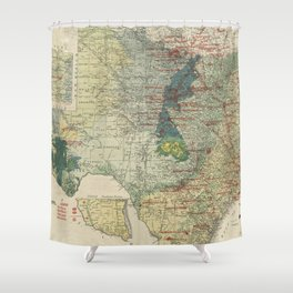 Vintage Map of The Texas Oil and Gas Fields (1920) Shower Curtain