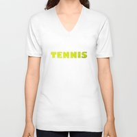 tennis V-neck T-shirts featuring TENNIS by GvssPencil