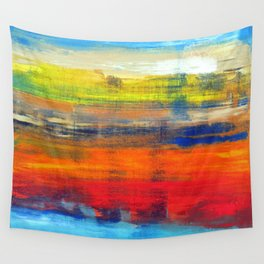 Horizon Blue Orange Red Abstract Art Wall Tapestry