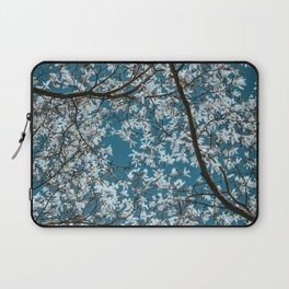 Beautiful white flowers all over the trees with clear blue sky in the background Laptop Sleeve