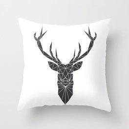 Grey Deer Head Illustration Throw Pillow
