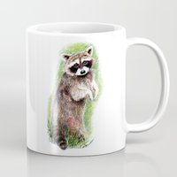 raccoon Mugs featuring Raccoon by Anna Shell