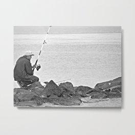 Fishing Alone Metal Print