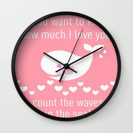 I love you - pink Wall Clock