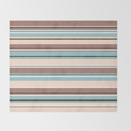 Striped Design Browns Blue Cream & White Throw Blanket