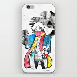 Manga character with landscape clothes and eagles iPhone Skin