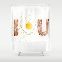 bacon Shower Curtains featuring Bacon by Olechka