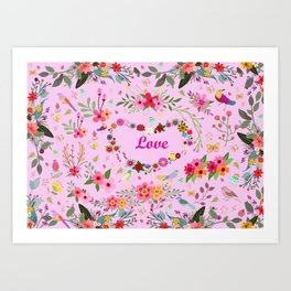 Say I love you with flowers Art Print