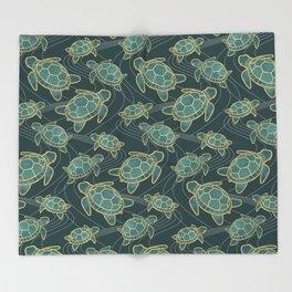 Japanese Pond Turtle / Teal Throw Blanket