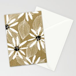 Large White Forest Flowers and Leaves on Beige Sand #decor #society6 #buyart Stationery Cards