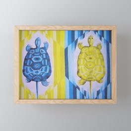 Turtles, blue and yellow, for kids. Original painting. Framed Mini Art Print