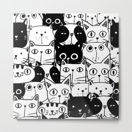 MONOCHROME CAT PATTERN Metal Print