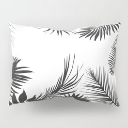 Black And White Palm Leaves Pillow Sham