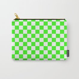 Small Checkered - White and Neon Green Carry-All Pouch