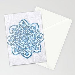 Blue Mandala on White Marble Stationery Cards
