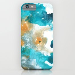 Aqua Teal Gold Abstract Painting #2 #ink #decor #art #society6 iPhone Case