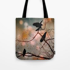Rainy Day Crows Tote Bag