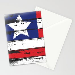 Wood Grain American Flag 4th of July with Fade Print Stationery Cards