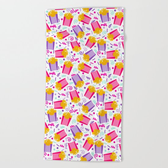 French Fries junk food party time razzle neon bright happy fun kids children pop art pattern foods Beach Towel