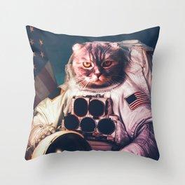 Funny Cat Astronaut #2 Throw Pillow