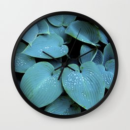 GREEN LEAVES WITH RAIN-DROPS Wall Clock