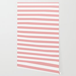 Large Blush Pink and White Cabana Tent Stripes Wallpaper