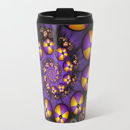 Playful Fractals Fun,  Modern Purple Yellow Spirals Travel Mug