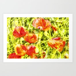 Poppy Watercolour Art Art Print